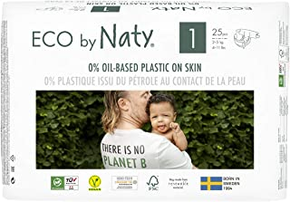 Eco by Naty, Size 1, 100 Diapers, 4-11 lbs, ONE MONTH supply, Plant-based premium ecological diaper with 0% oil plastic on skin 25 count (Pack of 4) (Packaging May Vary)