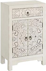 Mesilla de Noche Blanca de Madera con 1 cajón y 2 Puertas Oriental para Dormitorio Sol Naciente - LOLAhome