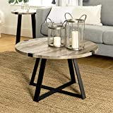 New 30 Inch Round Metal Wrap Coffee Table with Grey Wash Finish