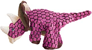 KONG - Dynos Triceratops Pink - Dinosaur Squeak Dog Toy, Reinforced Lining and Varied Texture - For Large Dogs