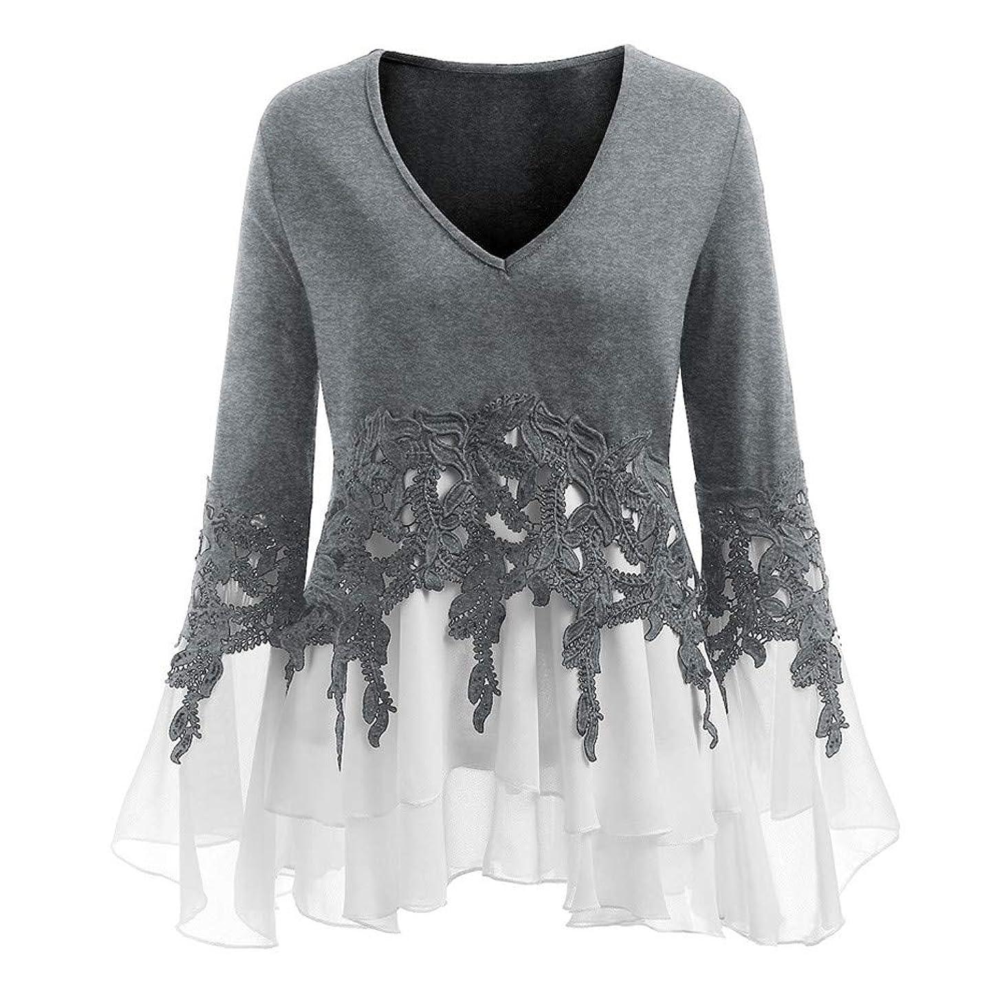 Hotkey Womens Long Sleeve Rash Guard Womens Casual Applique Flowy Chiffon V-Neck Long Sleeve Blouse Tops