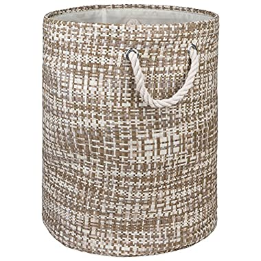 """DII Woven Paper Basket or Bin, Collapsible & Convenient Home Organization Solution for Bedroom, Bathroom, Dorm or Laundry(Large Round - 15x20""""), Stone Tweed"""