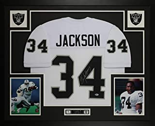 Bo Jackson Autographed White Raiders Jersey - Beautifully Matted and Framed - Hand Signed By Bo Jackson and Certified Authentic by Beckett - Includes Certificate of Authenticity
