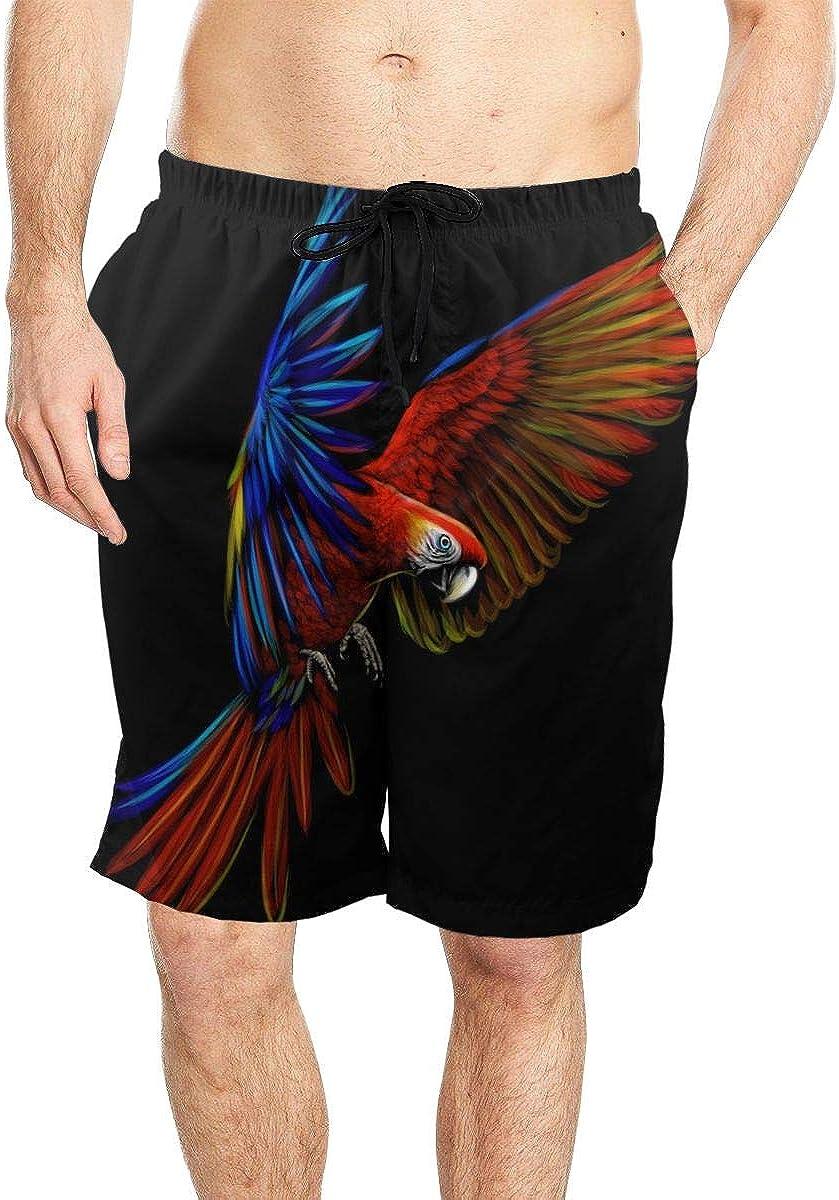 DASMUS Macaw Parrot in Flight Men Drawstring Beach Board Shorts Swim Trunks with Mesh Lining