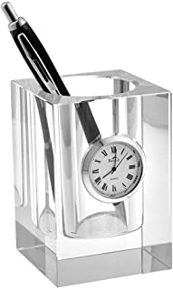 Badash - Crystal Pen and Pencil Holder with Clock 3.5
