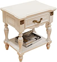 Bedside Table Bedside Table - American Country Garden Bedside Table White Solid Wood Bedroom Storage Cabinet Storage Count...
