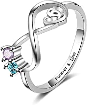 Lam Hub Fong Personalized Sterling Silver Infinity Promise Rings for Her Mothers Rings with 2 Simulated Birthstones Engagement Rings for Women Mother's Christmas Rings for Mom