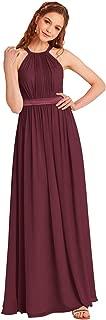 Halter Bridesmaid Dress Long Chiffon Women Evening Maxi Gown