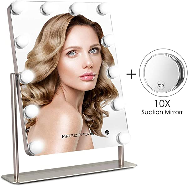 Makeup Mirror With Lights Large Vanity Mirror With Smart Touch Control 12 Dimmable LED Bulbs 3 Color Lighting Modes 14 W X 18 H Hollywood Style Lighted Makeup Mirror 10X Magnifying Mirror Matte