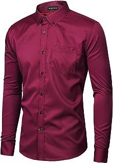 Keaac Mens Slim Fit Long Sleeve Solid Shirt Casual Button Down Shirt 1 XS