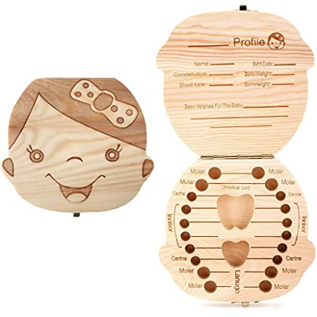 HILINE Baby Teeth Save Box,Wooden Tooth Keepsake Box,Teeth Box Save Organizer for for Baby,Kids Milk Teeth//Umbilical Cord//Lanugo Memory Storage Boxes Organizer for Boys