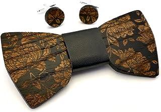 GIGETTO Kit Papillon in legno e gemelli, papillon nodo in ecopelle nero, gemelli con base argento. Farfallino artigianale....