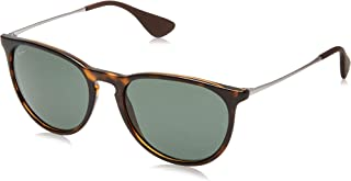 Ray-Ban RB4171 Erika Round Sunglasses, Light Havana/Dark Green, 54 mm