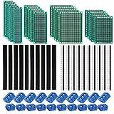 Kyrio 60PCS Kits de placa de PCB 20PCS Tableros de prototipos de PCB de doble cara 20PCS 2 / 3Pin Placa de circuito impreso Terminal de tornillo 20PCS Conector de encabezado macho