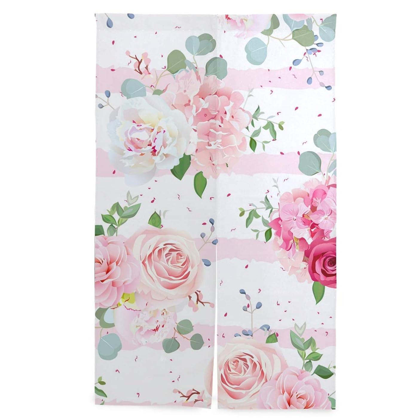 文字飼料ひねりSAMAU のれん 遮光 間仕切り 暖簾 バラ 花柄 和風 ロング 突っ張り棒付き 86×丈143cm