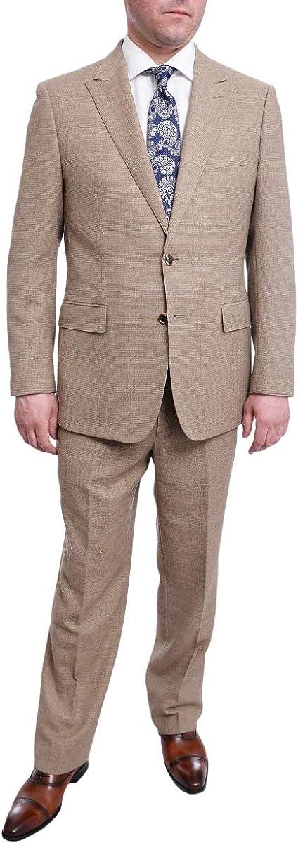 Steven Land Mens Classic Fit Olive Green Taupe Weave Wool Suit Peak Lapels