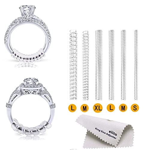 Eiito Ring Size Adjuster Ring Size Reducer Ring Guard Snuggies with Silver Polishing Cloth Ring Adjusters -Assorted Sizes 1.2mm//2mm//3mm//4mm Set of 4 Sizes