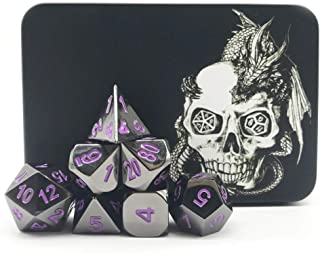 Truewon 7pcs Polyhedral Metal dice, Solid Metal Role Playing Game Dice Set with Black Iron Box(Black Nickel Surface Purple Numbers)