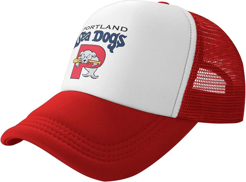 Portland Sea Dogs Team Logo Baseball Cap Mesh Trucker Adjustable Snapback Hat for Mens & Womens