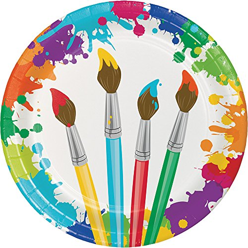 Creative Converting 8-Count Sturdy Style 8.75-Inch Round Paper Plates, Art Party, 8.5, Multicolor
