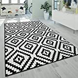 Alfombra Salón Pelo Corto Moderna Motivo Geométrico Rombos 3D Negro Blanco, tamaño:200x280 cm
