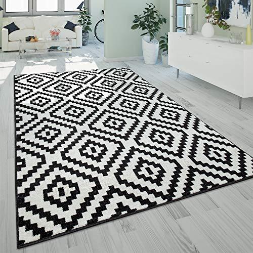 Alfombra Salón Pelo Corto Moderna Motivo Geométrico Rombos 3D Negro Blanco, tamaño:160x220 cm
