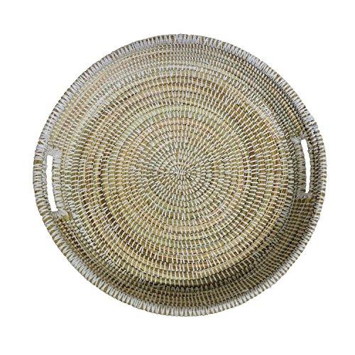 EA Déco Naturel & Design ABFBLA Plateau Tchèkè, Plastique, Blanc, 40 x 40 x 7 cm