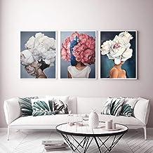 3 Pcs Portrait Art Painting flower woman Poster Canvas Painting Beautiful