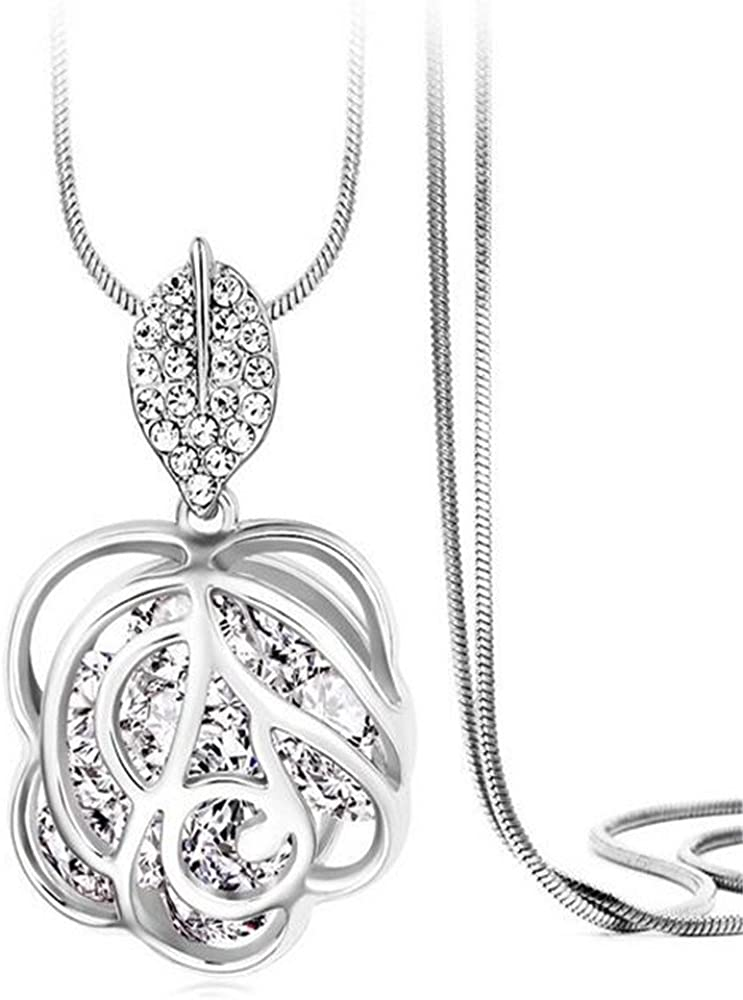 Z-Jeris Fashion Rhinestone Crystal Stuffing Hollow Flower Pendant Long Chain Necklace