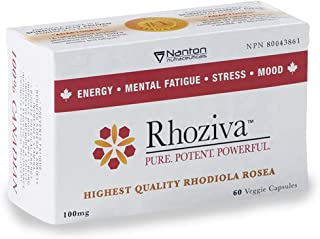 Rhoziva Rhodiola Rosea Supplement - 100mg, 60 Vegan & Gluten-Free Capsules - Natural Stress Relief, Energy, Mood Supplement (Grown and Produced in Canada)