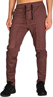 THE AWOKEN Men's Casual Chino Cargo Pants with Zipper Pockets Zipper Ankles