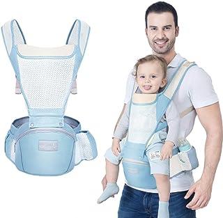 2020最新 抱っこひも ベビー Caseeto ベビーキャリア 多機能抱っこ紐 ヒップシートよだれカバー付き 新生児 赤ちゃん0-36ヶ月使える 前向き おんぶ可 安全ベルト付き 肩紐付き 対面抱っこ メッシュ付き通気抜群 夜間反射設計 収納 調整可能 四季通用 (ブルー)
