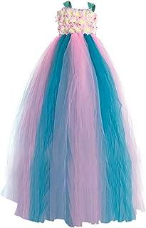 New Flower Girl Rainbow Tulle Dress Skirt Frilly Flower Dance Tutu Prom Robe Ball Gown Long