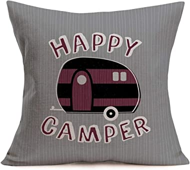 Asminifor Pillow Covers Retro Stripe Background Happy Camper Words with Rv Travel Car Decorative Cotton Linen Throw Pillow Ca