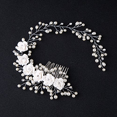 Kercisbeauty Wedding Bridal Pearl White Rose Flower Silver Headband Hair Comb Headpiece for Prom Rustic Wedding Vintage Hair Accessory Girl Prom Women's Garden Evening Party