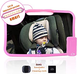 Moyu Home Infant Rear Facing Car Seat Mirror | Adjustable Smart Dual Mode LED Light with Remote | Crystal Clear View with 360 Degree Pivot | Full Assembled with Shatterproof Glass Pink