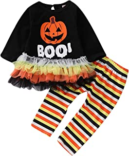 KONIGHT Halloween Kids Toddler Baby Girls Fall Outfit Pumpkin Long Sleeve Tutu Dress Shirt+Stripe Pants Winter Clothes Set