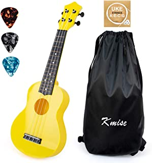 Kmise Soprano Ukulele for Beginners 21 inch ukelele Birthday Chrismas gift kit with Bag Picks String