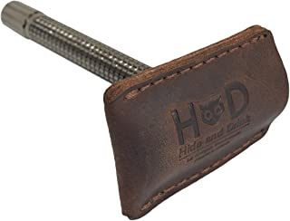 Hide & Drink Leather Double Edge Safety Razor Head Protective Sheath/Shaving Travel Cover Handmade Bourbon Brown
