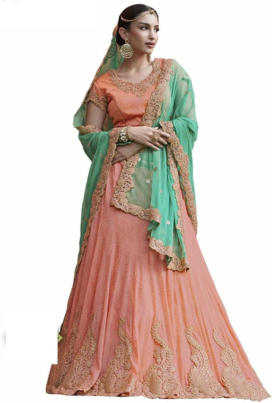 DesiButik's Wedding Wear Pleasant Rama Net Lehenga