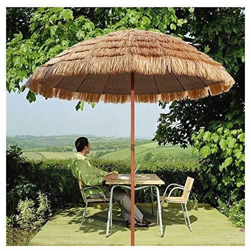 YYQ SHOP Hawaii Sombrilla de Jardín Anti Viento Inclinación Parasol de Paja Redonda protección Solar UV50+,Grande y Estable,para Piscina Backyard,Desmontable ø180x230cm