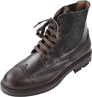 BRUNELLO CUCINELLI Chaussures Homme Marron Sombre Noir 100% Cuir Bottes 43