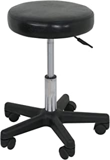 Adjustable Hydraulic Rolling Swivel Salon Stool Chair Tattoo Massage Facial Spa Stool Chair Black (PU Leather Cushion) (1pcs)