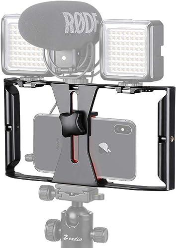 NEOHOOK Video Camera Cage Stabilizer Film Making Rig For All Smart Phones Video Rig Mobile Phone Holder Hand Grip Bracket Holder Stabilizer Black