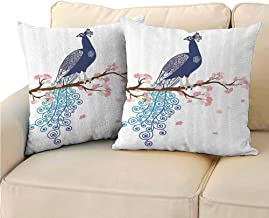 QIAOQIAOLO Pack of 2 Printed Pillowcase Peacock Decor Collection Comfortable and Soft 20x20 inch Illustration of Abstract Peacock on Blossom Tree Branch Ornate Summertime Image Navy Blue Pink