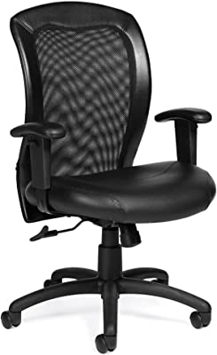 0f1f90ac63e Atwater Mesh Back Bonded Leather Seat Task Chair with Adjustable Arms  Dimensions  24.5
