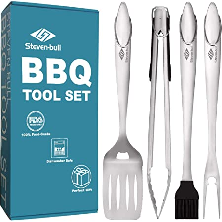 Heavy Duty BBQ Grilling Tools Set. Extra Thick Stainless Steel Perfect BBQ Tools Grilling tools Set Gift for Men, Best Grilling BBQ Accessories for Barbecue & Grill. 18 Inch Grill Utensils Set