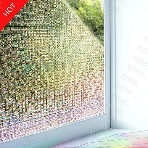 Multi-maten laser 3D mozaïek reliëf effect gebeitst decoratieve raamfolie, statische hechtende zelfklevende privacy glasfolie voor thuis, 30 x 200 cm