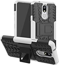 Mobile phone case Shockproof PC + TPU Tire Pattern Case for LG K40, with Holder (Black) (Color : White)