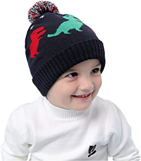 VAQM Baby Winter Hat Kids Beanie Hats Boys Knit Warm Caps Toddler Pom Cartoon Dinosaur Hat for Autumn Winter (Baby Winter Hat for Medium)